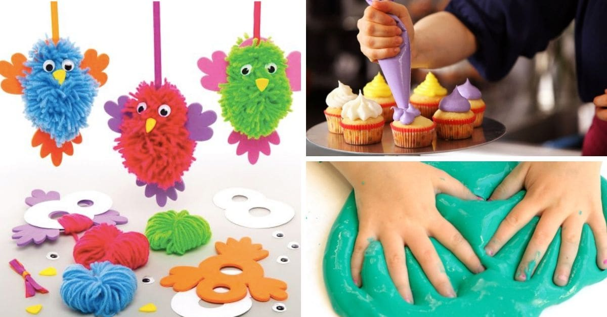 Make your own slime or pom pom frogs & birds