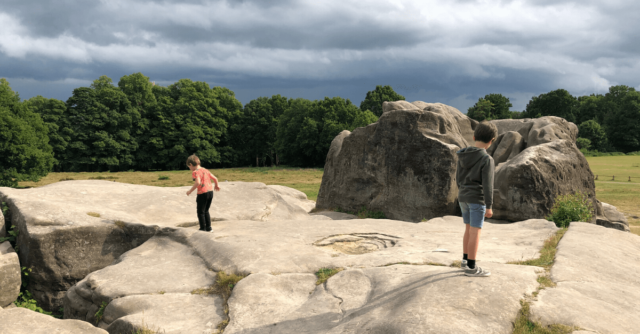 Places to visit in Kent- two children at Wellington Rocks